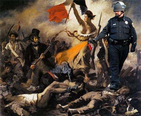 Delacroix Meme - pepper spray cop meme walks through art history