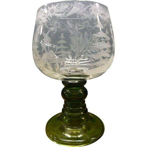 clear glass l base large bohemian clear glass vase with engravings and green