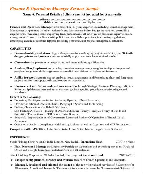 Financial Operations Manager Sle Resume by Finance Resumes 24 Free Word Pdf Documents Free Premium Templates