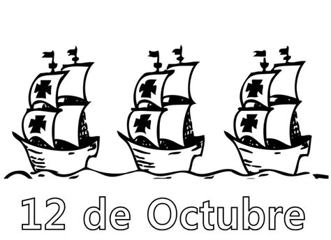 dibujos barcos de cristobal colon carabelas de cristobal colon para colorear