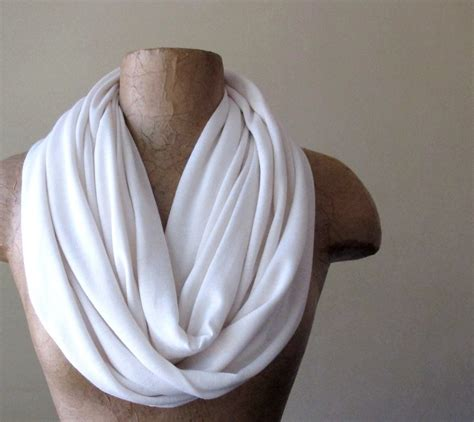 ivory infinity scarf jersey circle scarf white by ecoshag