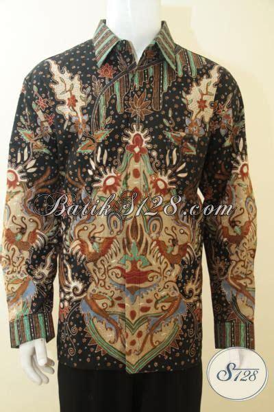 Hem Batik Katun Terbaru Burung Hitam Kemeja Jumbo Big B60717007 hem batik tulis lengan panjang dasar hitam motif mewah busana batik istimewa untuk pria dewasa