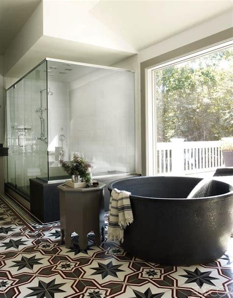 elle decor bathrooms gray moroccan stool transitional bathroom elle decor