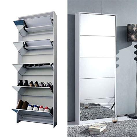 shoe storage with mirror organizedlife white wooden shoe cabinet mirror shoe