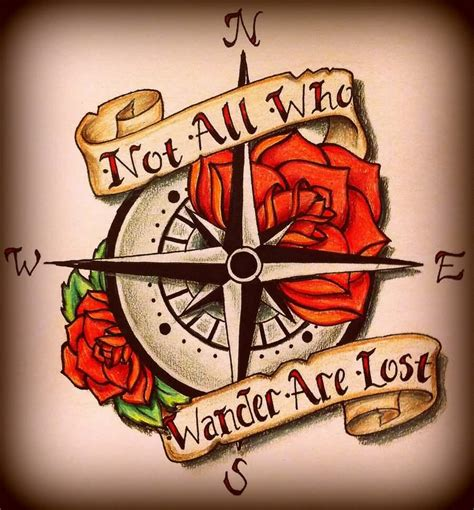not all who wander are lost tattoo not all who wander are lost banner with compass