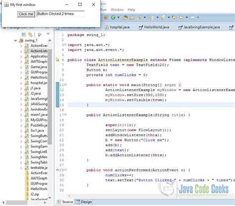 java swing program exles java swing actionlistener exle exles java code