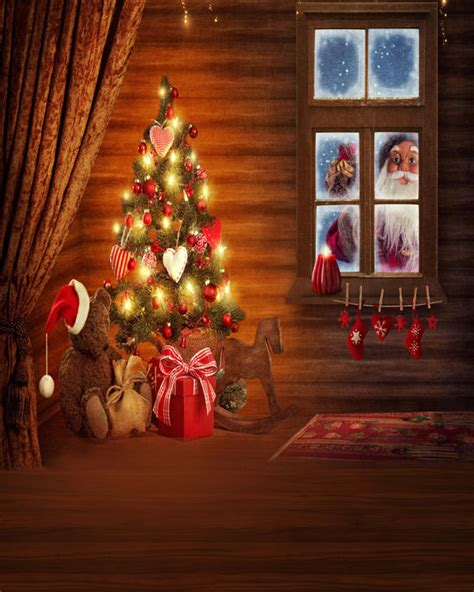 8x12ft christmas tree santa claus kids custom photo studio