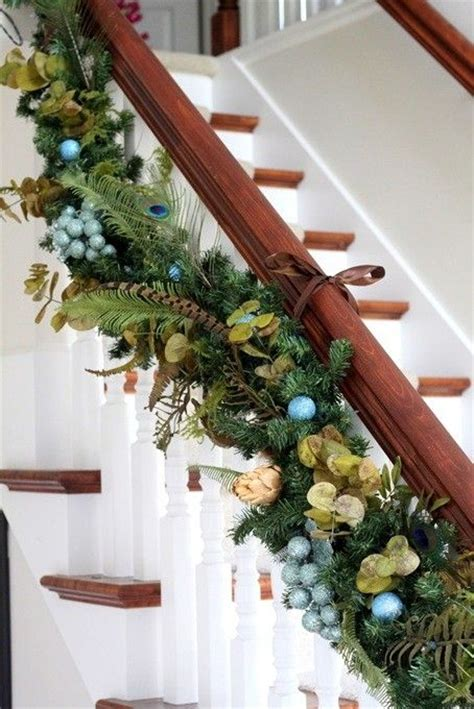hanging garland for christmas stairs christmas ideas