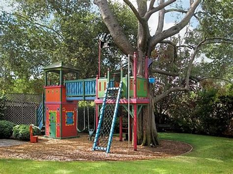 Backyard Treehouse Ideas Tree Houses For Here S A Colorful Tree House For Ki Kid S Garden House