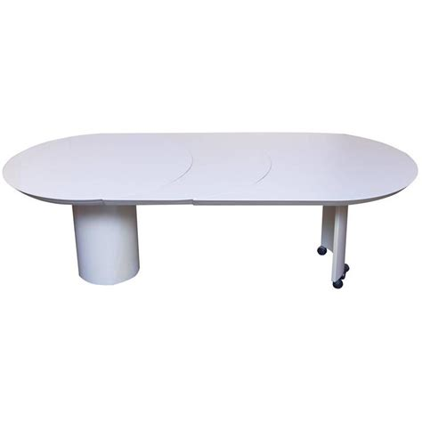 White Extension Dining Table Roger Rougier White Lacquered Extension Dining Table At 1stdibs