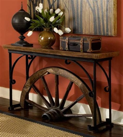 sofa table on wheels wagon wheel sofa table for the home pinterest