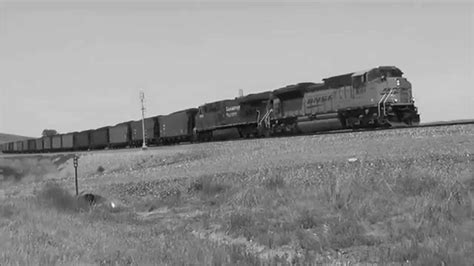 Cp Black White Bt49 bnsf coal in western nebraska in black and white with a cp unit
