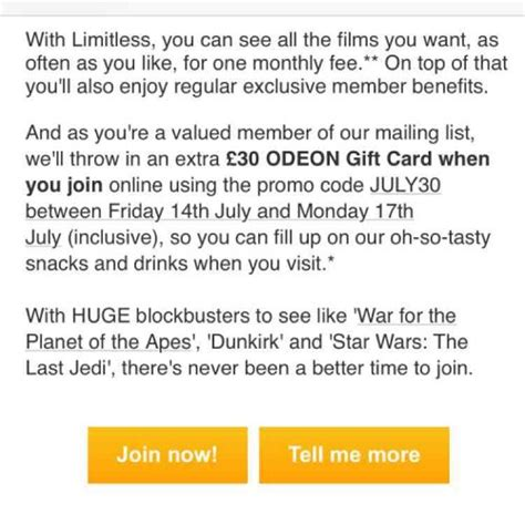Buy Odeon Gift Card - 163 30 gift card with odeon limitless 163 17 99 a month for 12 months 163 215 88 odeon