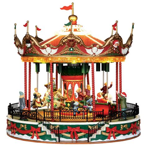 lemax santa carousel sights sounds table piece 34682