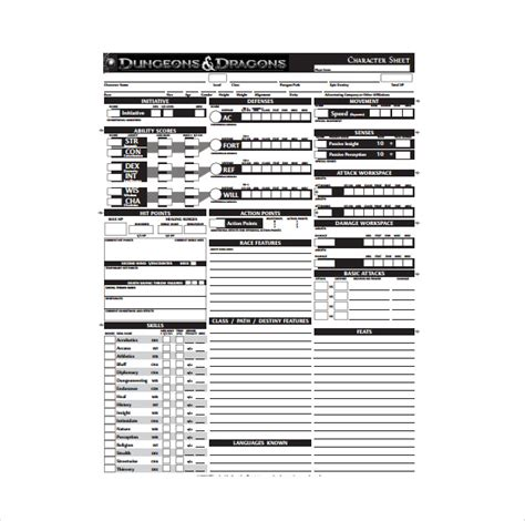 dungeons and dragons templates character sheet template 8 free pdf documents