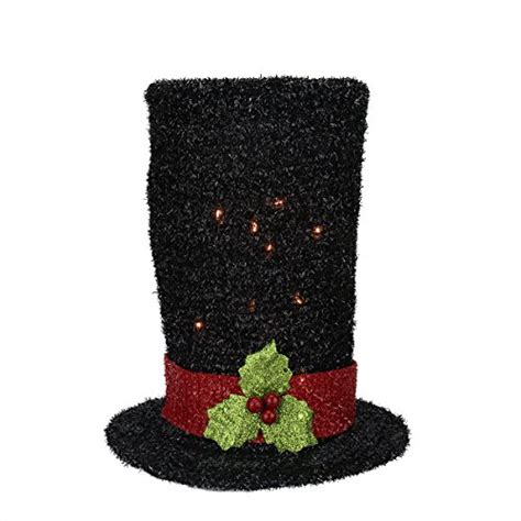 9 quot lighted black tinsel snowman top hat christmas tree