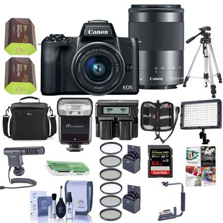 canon eos m50 mirrorless camera 15 45mm & 55 200mm is stm