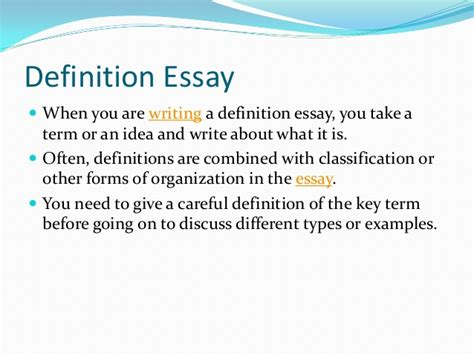 How To Write Definition Essay by Write A Definition Essay