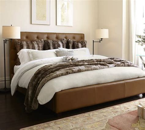 lorraine tufted leather bed headboard pottery barn