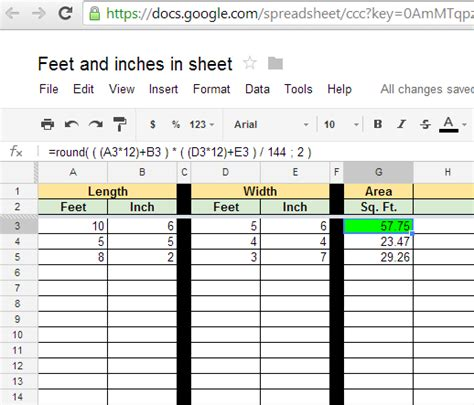 format excel for feet and inches igoogledrive google spreadsheet area calculations in feet