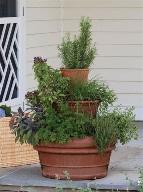 stacked pots for container garden garden plants