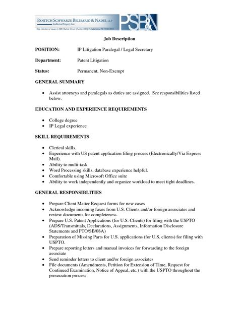 Paralegal Job Description For Resume by Resume Writer Free Health Symptoms And Cure Com Paralegal