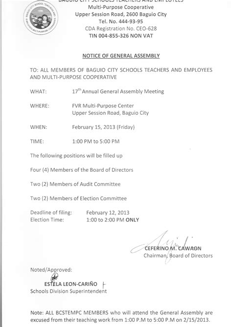 Sle Memo General Assembly Attendance To The 2013 General Assembly Of The Baguio City School Teachers And Employees Multi