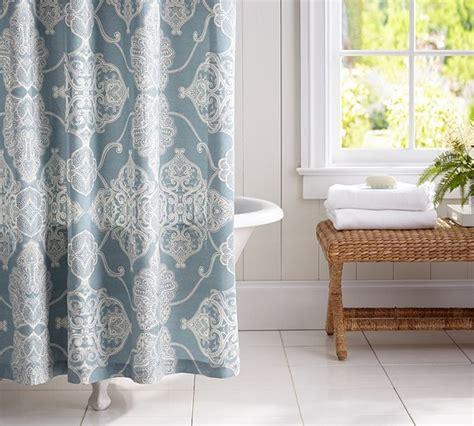 Alana Medallion Shower Curtain Dark Porcelain Blue