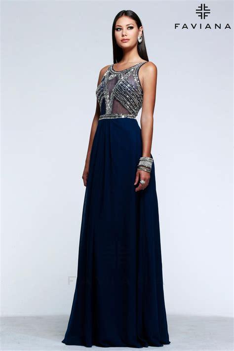 faviana glamour  sheer beaded prom dress french novelty