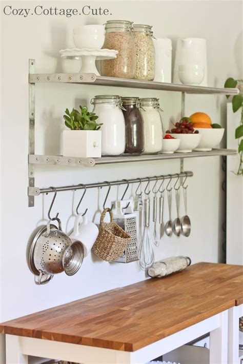 ikea hanging kitchen storage going to get a long bar like one above and hang across my