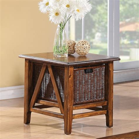 rectangular square end tables with storage rectangular end table with storage basket by riverside