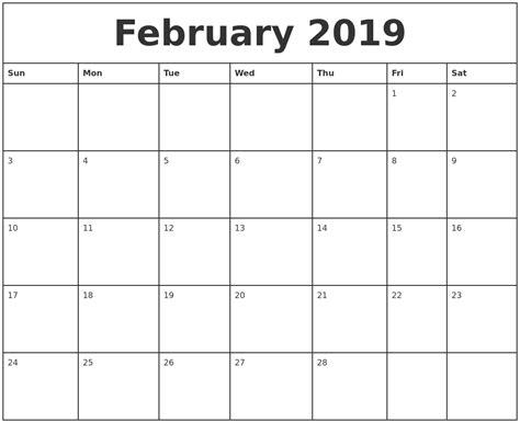 february 2019 printable monthly calendar