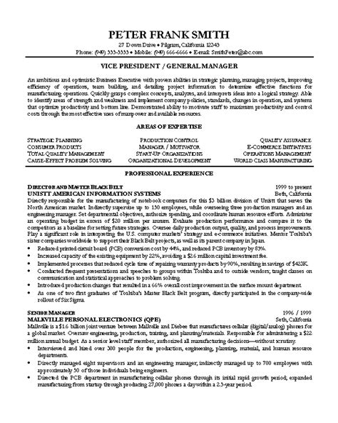 Resume Objective Vice President Position Resume Sle 7 Vice President Resume Career Resumes