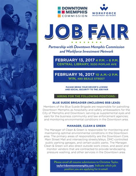 career flyer template fair hosted by downtown commission and