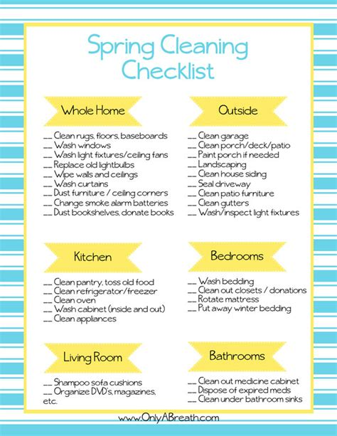 spring cleaning checklist free printable spring cleaning checklist