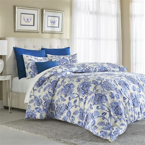 blue patterned bedspread cannon 7 piece comforter set floral blue