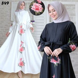 Gamis Katun Busui Rit Depan Terusan Muslim Bunga Ungu Terbaru Murah gamis baloteli bordir hitam putih c849 baju muslim murah