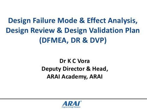 design failure mode effect analysis ppt dfmea dr dvp 261113 kcv