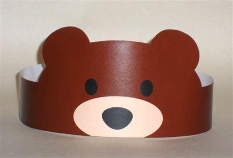 printable paper animal hats bear paper crown printable