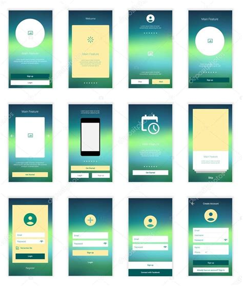 layout template mobile mobile screens user interface kit modern user interface