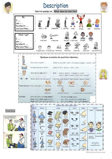 Esl Duties by 62 Free Esl Physical Description Worksheets