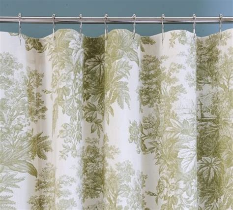 Toile Curtains Green Green Toile Curtains 50w X 84l Shower Stall Curtain Green Toile Traditional Shower Curtains By