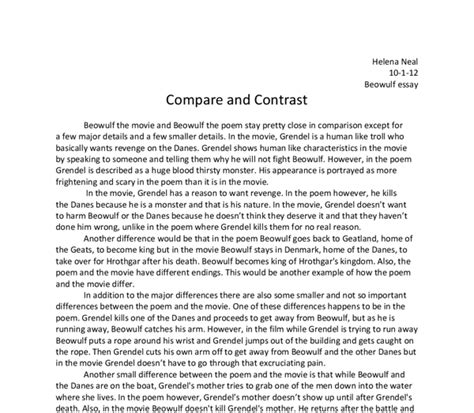 Essay Summary Of Beowulf by Beowulf Thesis Statement