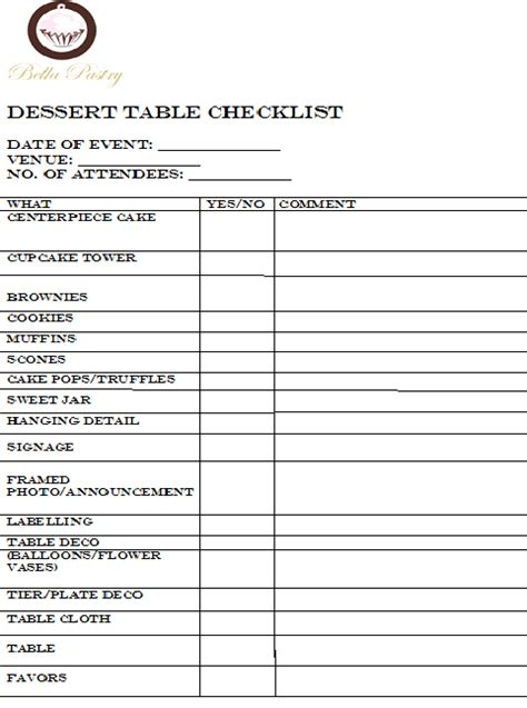 Dessert Table Contract Template Bella Pastry My Love Affair With Food
