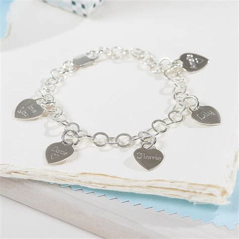 personalised sterling silver charm bracelet by