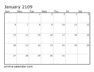 download 2109 printable calendars