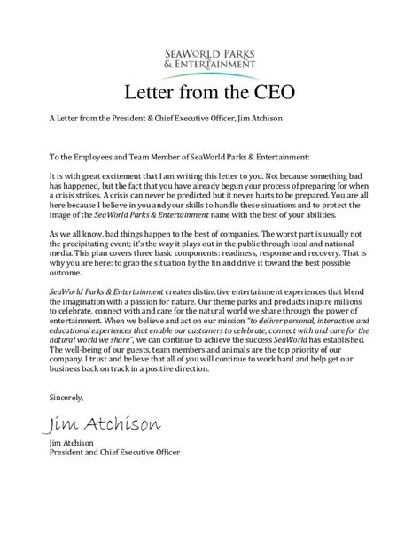 appreciation letter from ceo to employees sea world crisis communication plan