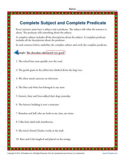 Subject Predicate Worksheet by Reading Worksheets Character Traits Memes