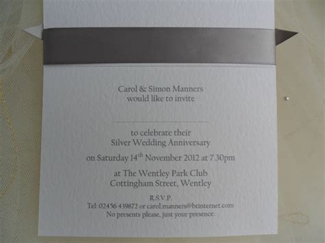 25th wedding invitations templates from 163 1 25 each top ribbon silver wedd more wording