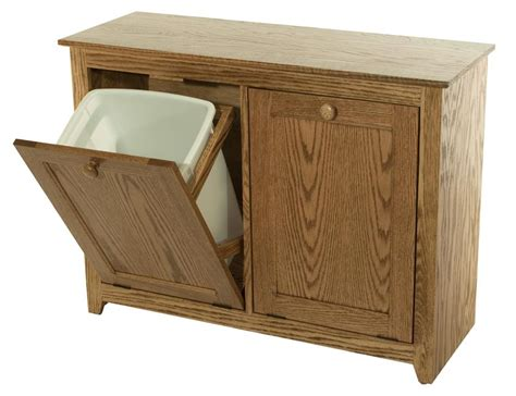 double trash bin cabinet amish hardwood double tilt out waste bin